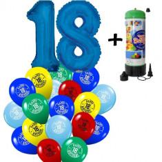 "Pachet majorat baloane ""18"", 2 folii albastre +30 latex+1 butelie heliu-2018120"