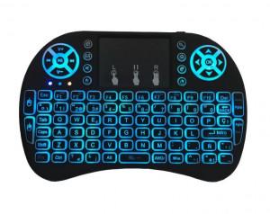 Tastatura Iluminata Wireless i8 Air Mouse cu Touchpad pentru TV Box si Mini PC, Android OS, Smart TV, PC, Laptop