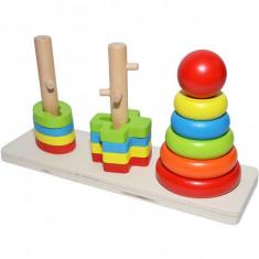 Jucarie educativa din lemn, cu cercuri si forme