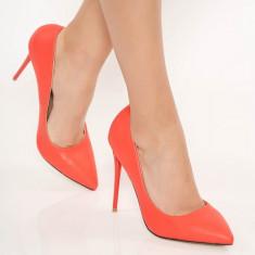 Pantofi corai stiletto office din piele ecologica cu toc inalt cu varful usor ascutit