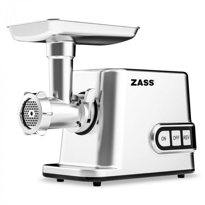 Masina de tocat cu accesoriu de rosii Zass, 3000 W, capacitate tocare 50-70 kg/ora, roti dintate metalice, 3 discuri inox incluse