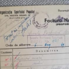 1949, Factură Organizația Sportului Popular, Buc., Șc. Tehnică Sportivă, rugby