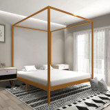 VidaXL Cadru pat cu baldachin, maro miere, 180x200cm, lemn masiv pin