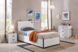 Cumpara ieftin Set Mobila dormitor din pal pentru tineret 3 piese White, 200 x 100 cm
