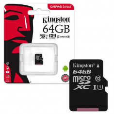 Card de memorie Kingston MicroSDXC, 64GB, Class 10, 80R, Canvas Select