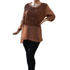 Bluza Lianne din tricot cu insertii de de paiete si broderie,nuanta de maro