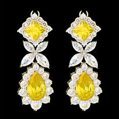Cercei placati cu Aur 18K si Diamante, Alessandra Platinum & Yellow