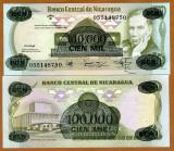 !!! NICARAGUA  -   100.000  CORDOBAS  1987  -  P 149  -  UNC
