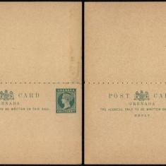 Grenada - Postal History Rare Old Postcard + Reply UNUSED DB.206