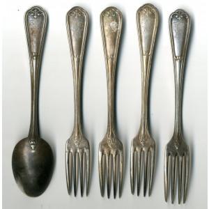 Set 5 x Tacamuri argintate cu Coroana si Cifrul Regelui Carol I marca Christofle