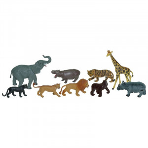 Set figurine animale salbatice Miniland, material plastic, 9 piese, 4 ani+