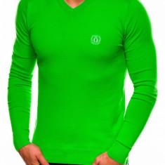 Bluza pentru barbati din bumbac verde casual slim fit E74