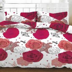 Lenjerie de pat pentru o persoana cu husa de perna dreptunghiulara, Hailey, bumbac mercerizat, multicolor