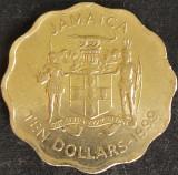 Moneda exotica 10 DOLARI / DOLLARS - JAMAICA, anul 1999 *cod 1113, America de Nord