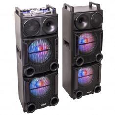 Set 2 boxe Party profesionale, 1200 W, Bluetooth, USB/SD,AUX, telecomanda