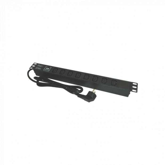 PDU EMTEX aluminiu PDU. 19 inch. 8 prize C13 .protectie la supratensiune . 16A. 3500W. 3x1.5. 2M 1U