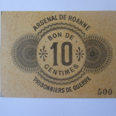 Rar! Bon 10 Centimes 1914-1918 UNC pentru prizonierii de razboi din Franta WW I