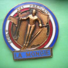 HOPCT  F 1-LA MONGIE -ECOLE SKI FRANCAISE -SCOALA FRANCEZA SCHI -INSIGNA FRANTA