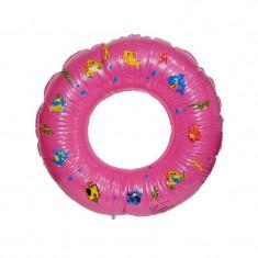 Colac gonflabil fetite pentru inot, cu alveole, imprimeu animalute, roz