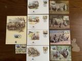 Swaziland - rinocer - serie 4 timbre MNH, 4 FDC, 4 maxime, fauna wwf