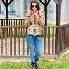 Jachetă groasă cu glugă imblănită și vatelină, gold, S,M,L,XL,XXL