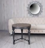 Masa rotunda din lemn masiv negru cu blat din lemn maro BEF003