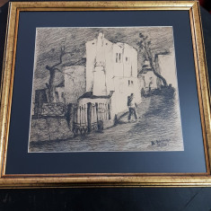 RADU DARANGA-PEISAJ DIN IASI-GRAFICA-PENITA-1966, Peisaje, Cerneala, Realism