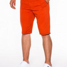 Pantaloni scurti pentru barbati portocaliu casual model de vara slim fit buzunare laterale P520