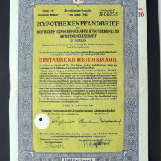Titlu De Stat Obligatiune Germania 1942-1000-Reichsmark