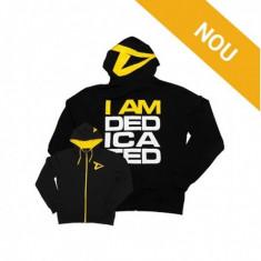 Hanorac slim fit I am Dedicated, negru cu galben