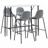 Set mobilier de bar, 5 piese, gri deschis, material textil, vidaXL