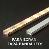 Profil U din aluminiu pt. benzi LED 1000x17x8mm