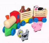 Cumpara ieftin Trenulet din lemn cu animale