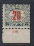 ROMANIA 1919 - CLUJ ORADEA 20 BANI PORTO EROARE I DEPLASAT MNH BODOR, Nestampilat