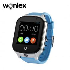 Ceas Smartwatch Wonlex GW1000S cu Functie Telefon, Localizare GPS, Camera, 3G, Pedometru, SOS, Android - Albastru