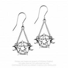 Cercei lungi pentagrame si semiluni Zeita Lunii