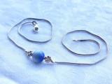 COLIER argint cu OCHI de PISICA ALBASTRU ca medalion DELICAT finut ELEGANT