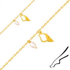 Brățară pentru gleznă din aur 375 - un contur de cochilie cu decupaj, perlă albă