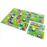Covoras Puzzle pentru Copii, 4 Piese din Spuma cu Imprimeu Interactiv
