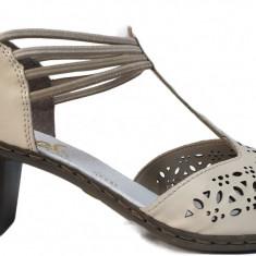 Pantofi dama cu toc perforati Rieker 40969 bej