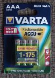 Acumulatori Baterii AAA VARTA Ni-MH 800mAh R3 set de 4 buc, Tip AAA (R3)