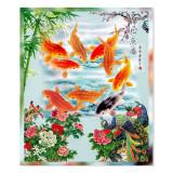 Tablou Feng Shui cu cei 9 pesti crapi norocosi si pauni