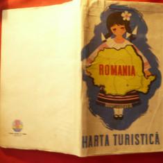 Harta Turistica a Romaniei 1958 , ONT Carpati ,RPR , 93x67 cm