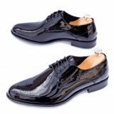 Pantofi barbati eleganti Piele negri lac Bigovo
