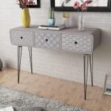 VidaXL Masă consolă cu 3 sertare, gri