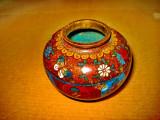 A953-Vaza mica Cloisonne veche anii 1900 bronz emailat.