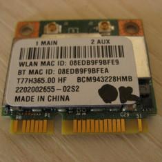 Placa wireless laptop Acer Aspire V5-531, T77H365.00 HF, BCM943228HMB