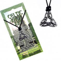 Colier din șnur cu pandantiv metalic, nod celtic în trei puncte