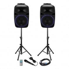 Kit sonorizare Bluetooth, 2 x 400 W, USB, cardSD, egalizator 2 benzi, tuner FM