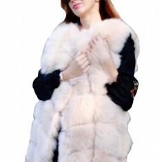 Vesta din blana naturala de vulpe culoare Bej marime L